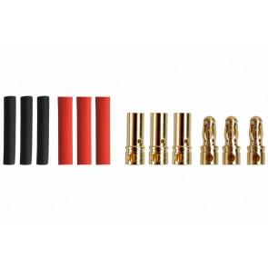 Drei Paar Goldkontaktstecker 3,5mm mit Schrumpfschlauch Yuki