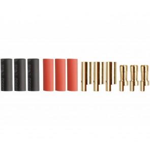 Drei Paar Goldkontaktstecker 5,5mm mit Schrumpfschlauch