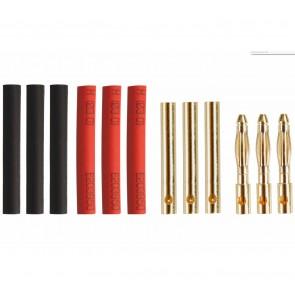 Drei Paar Goldkontaktstecker 2mm mit Schrumpfschlauch