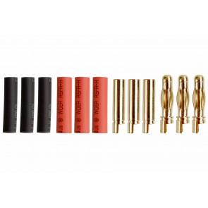Drei Paar Goldkontaktstecker 4mm mit Schrumpfschlauch