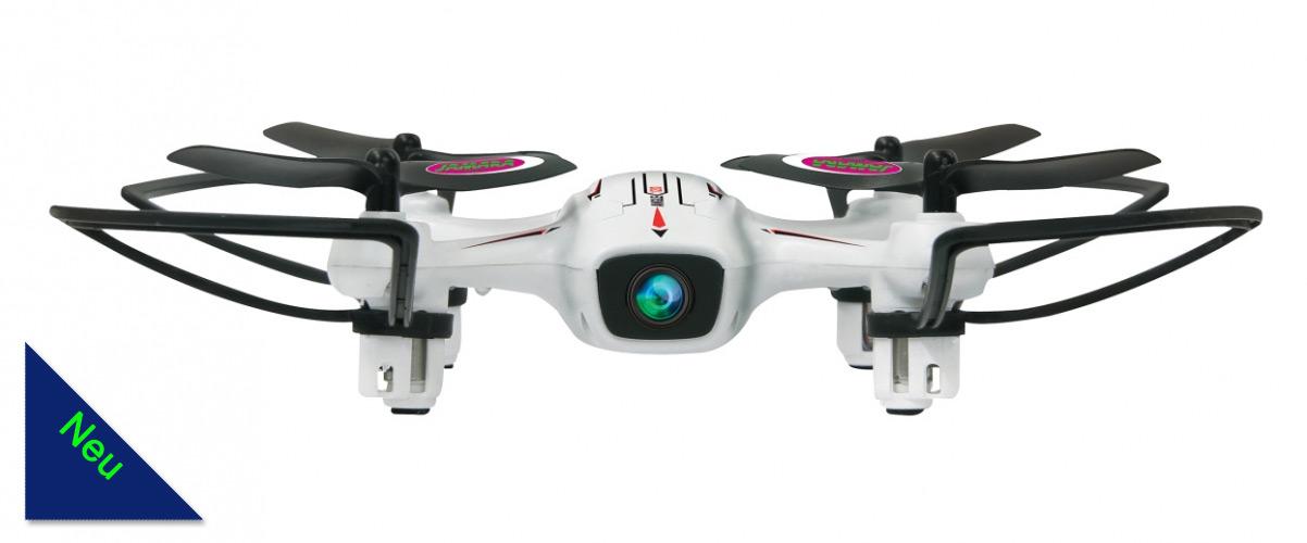 Der Angle 120 Altitude HD Wifi FPV AHP+ 2,4 GHz ist ein toller robuster und handlicher Turbo Quadrocopter mit Intelligenter LED Beleuchtung (rot/grün) mit Richtungsanzeige, Unterspannungswarnung und Schnellwechselakku.  Durch die intelligente Fluglagenkontrolle ist das Fluggerät auch für den etwas geübten Anfänger leicht zu fliegen.  Zusätzlich haben wir dem Angle 120 die AHP+ Funktion verpasst. Das ist ein Automatischer Orientierungsmodus mit Rückflugautomatik. Das Modell kann die gewünschte Flugbahn trotz Drehung um die eigene Achse automatisch beibehalten. Ideal um bewegte Objekte zu filmen.  Auf Wunsch kann das Modell automatisch die einprogrammierte Flugrichtung zurück zum Piloten einnehmen. Vier kraftvolle Motoren mit Gyrosystem sorgen für ein richtiges 3D Flugvergnügen. 360° Grad Stunts, Flips und Turns sind genauso möglich wie einfacher Kunstflug.  Das Besondere an diesem Modell ist die eingebaute Höhenkotrolle AHA. Altitude Hold Adjustment sorgt mittels Barometer dafür, dass die vorgegebene Flughöhe anhand des gemessenen Luftdrucks eingehalten und ausgeglichen wird. Ein Knopfdruck genügt und das Modell übernimmt voll automatisch die Gaskontrolle und hält durch den eingebauten Barometer die gewünschte Höhe. Der Pilot kann sich voll und ganz auf die Position des Modells und das Kameramotiv konzentrieren.  Der Angle 120 hat eine WiFi, FPV-Funktion. Hierbei kann mittels einer kostenlos erhältlichen APP Das Kamerabild direkt auf ein mobiles Endgerät übertagen werden. Bei Geschwindigkeiten bis zu 40 km/h sind so spektakuläre Flugvideos und Fotoaufnahmen möglich.