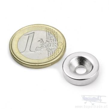 Neodym Magnet im Scheibenform zum Anschrauben 15 mm, Höhe 4 mm