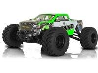 RC Car - Monster Truck: Große Räder, große Bodenfreiheit, breiter Radstand, Allradantrieb, schnell in mittlerem und schwerem Gelände.