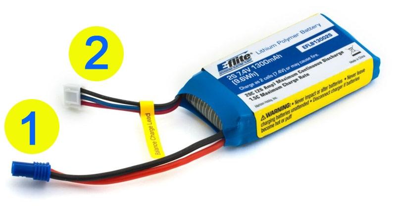 1) Stromkabel mit Buchse am Akku 2) Balancerkabel XH System
